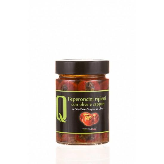 Peperoncini umpluti cu măsline negre, ansoa, capere 350g